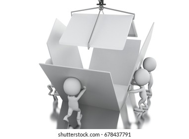 3d illustration. White people building a house. Teamwork concept. Isolated white background