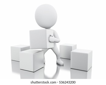 3D Illustration. White people with cubes. Hard work concept. Isolated white background.