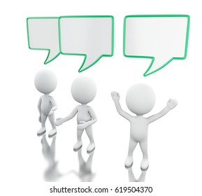 3d illustration. White people with empty speech bubbles. Debate concept. Isolated white background