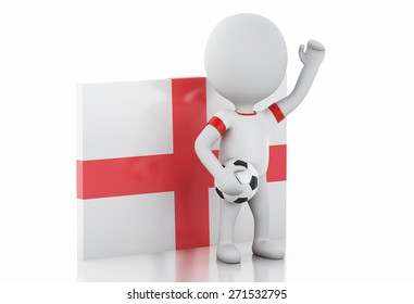 3d illustration. White people with England flag and soccer ball. Isolated white background