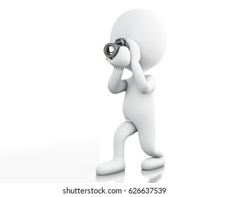 3d illustration. White people taking a picture with camera. Professional photographer. Isolated white background