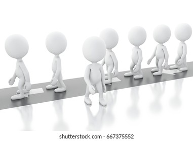 3d illustration. White people walks away from others people to choosing different and successful way. Choice concept. Isolated white background