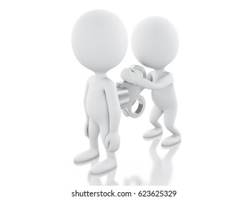 3d illustration. White people winding up by another. Motivation concept. Isolsated white background
