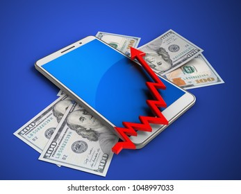 3d illustration of white phone over blue background with banknotes and arrow chart