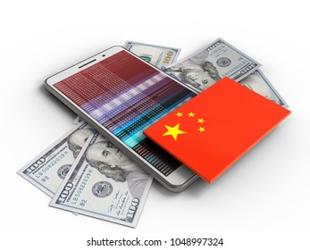 3d illustration of white phone over white background with banknotes and china flag