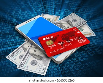 3d illustration of white phone over digital background with banknotes and credit card