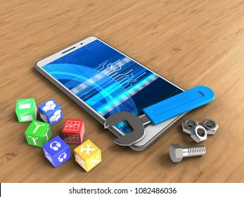 3d illustration of white phone over wooden background with cubes and wrench