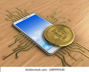 3d illustration of white phone over wooden background with electronic circuit and bitcoin
