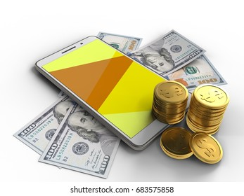 3d illustration of white phone over white background with banknotes and coins
