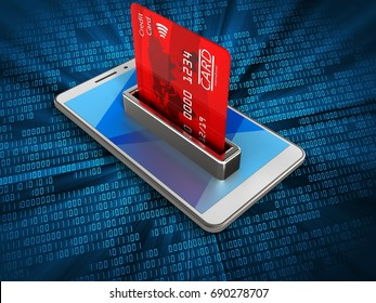 3d illustration of white phone over digital background with bank card