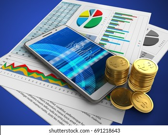 3d illustration of white phone over blue background with business papers and coins