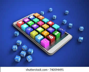 3d illustration of white phone over blue background with binary cubes and application icons