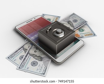 3d illustration of white phone over white background with banknotes and steel safe