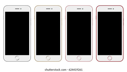 3D illustration White Smartphone Mockup isolated on white background