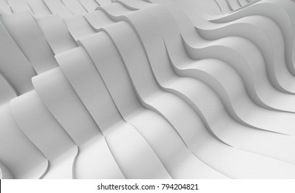 3D illustration of white surface made of waving lines, abstract background