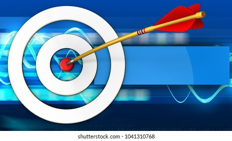 3d illustration of white taget with arrow over blue waves background