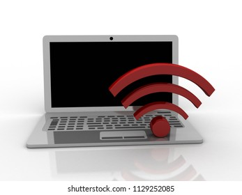 3d illustration WiFi symbol with laptop