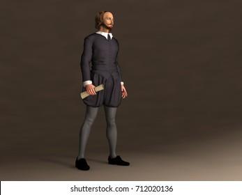 3d illustration of William Shakespeare