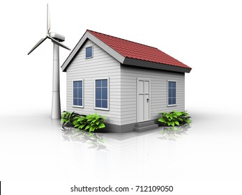 3d illustration of wind energy house  over white background