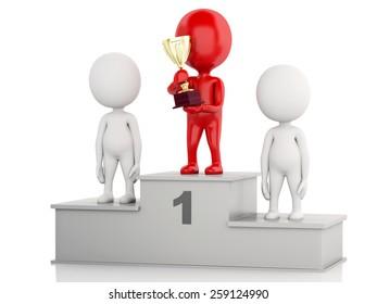 3d illustration. Winner celebrating on podium with trophy. Isolated white background