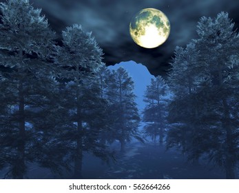 3d illustration winter night scene with trees and moon