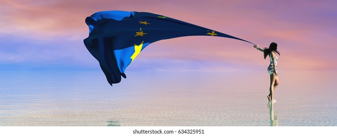 3d illustration of the woman and flag of European Community