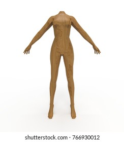 3d illustration of woman mannequin. white background isolated. icon for game web.