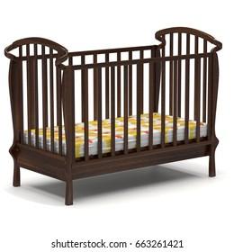3d illustration wooden brown baby crib