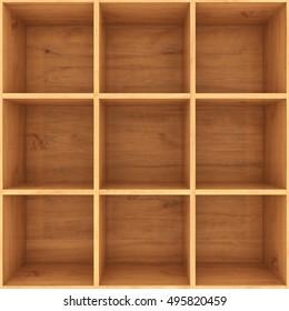 3d illustration of wooden shelf for books
