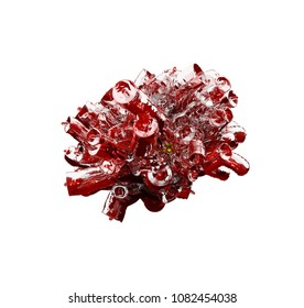3d illustration wool virus, thin tentacles bacterium red with hight cover old