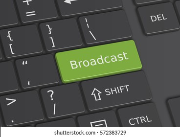 A 3D illustration of the word Broadcast written on a green key from the keyboard