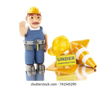 3d illustration. Worker with helmet, cones and under construction sign. Construction concept. Isolated white background