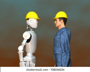 3d illustration of a worker and a robot