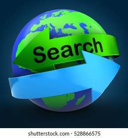 3d illustration of world globe over blue background  with search text on green arrow