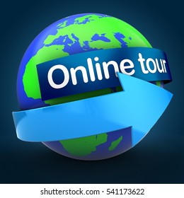 3d illustration of world globe over blue background  with online tour text on blue banner
