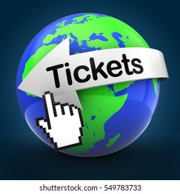 3d illustration of world globe over blue background  with tickets text on white arrow