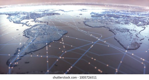3D illustration. World map with satellite data connections. Connectivity across the world.