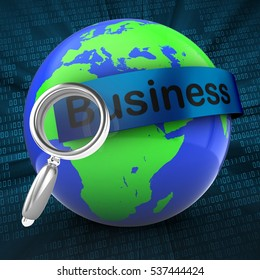 3d illustration of world on digital background  with business text on blue banner