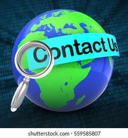 3d illustration of world on digital background  with contact us text on light blue banner