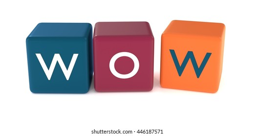 3d illustration of WOW word from colored cubes