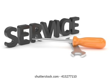 3D Illustration Wrench and screwdriver, service concept