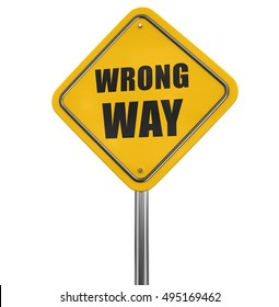 3D Illustration. Wrong Way road sign. Image with clipping path