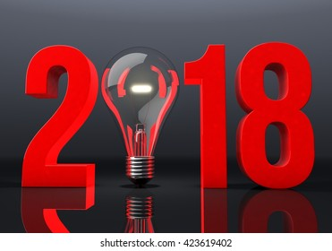 3D illustration of Year 2018 with Light Bulb