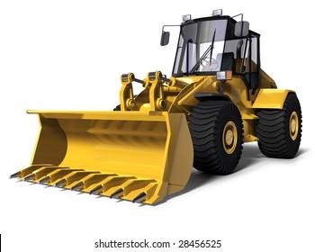 3d illustration of a yellow bulldozer