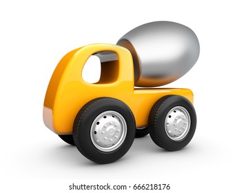 3d Illustration of Yellow concrete mixer truck. isolated white