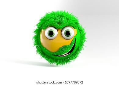 3D Illustration, Yellow Emoji with green Hair