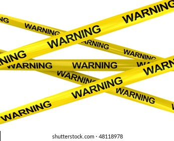 3d illustration of yellow ribbons with warning sign