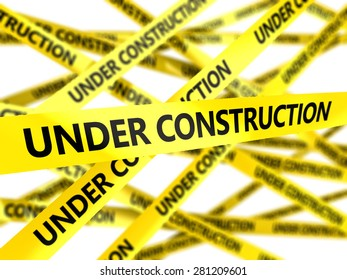 3d illustration of yellow tape with under construction sign
