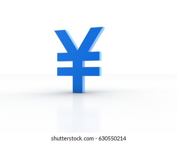 3d illustration Yen Symbol Isolated on color with Shadows 3D