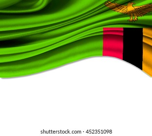 3D illustration of Zambia fabric waving of flag.